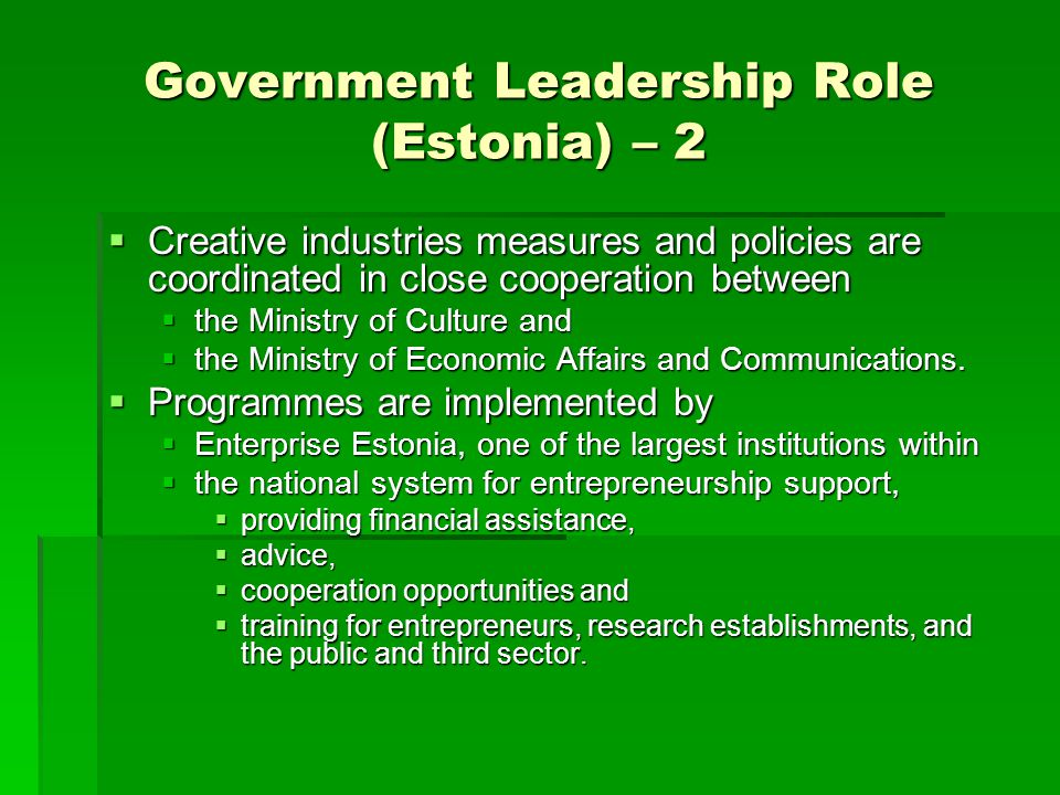 Government Leadership Role (Estonia) – 2