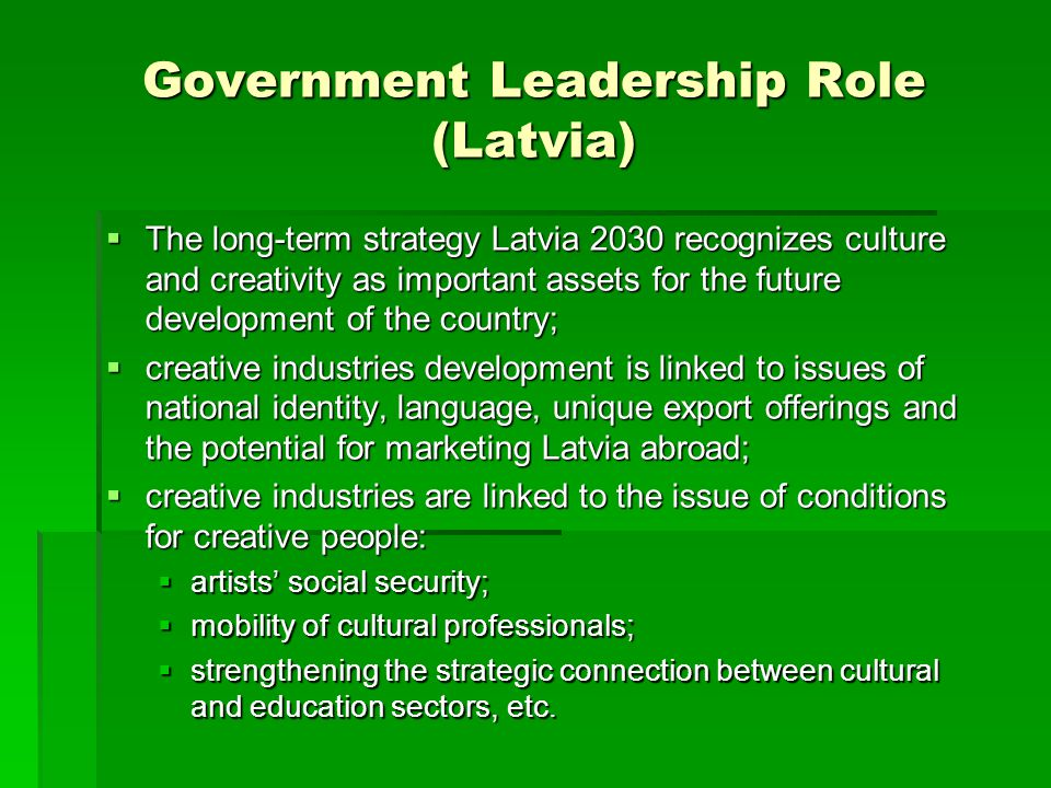 Government Leadership Role (Latvia)