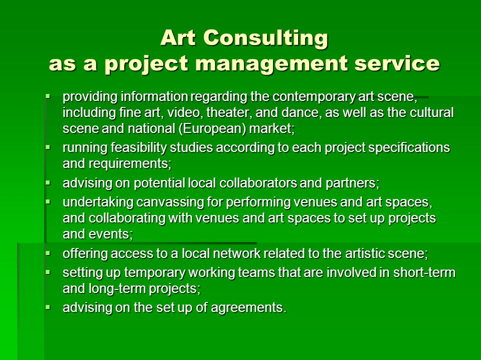 Art Consulting as a project management service