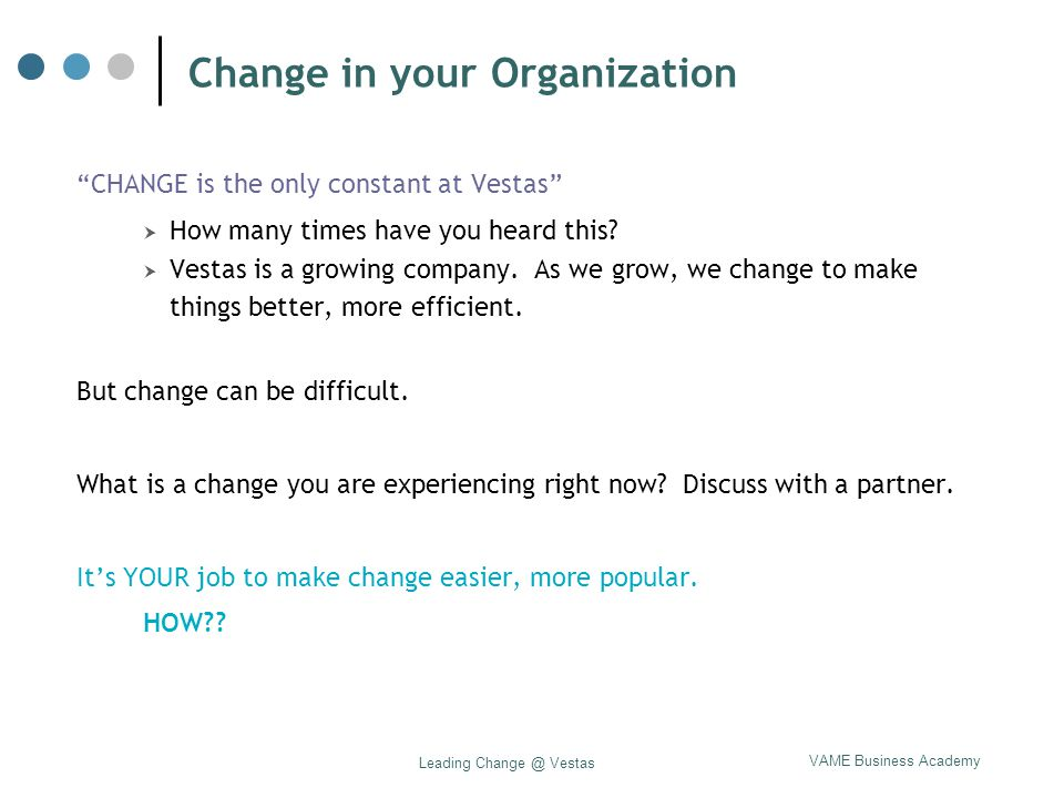 Change in your Organization