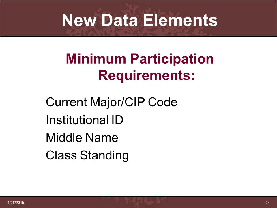 Minimum Participation Requirements: