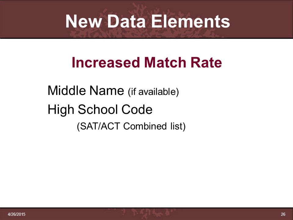 New Data Elements Increased Match Rate Middle Name (if available)