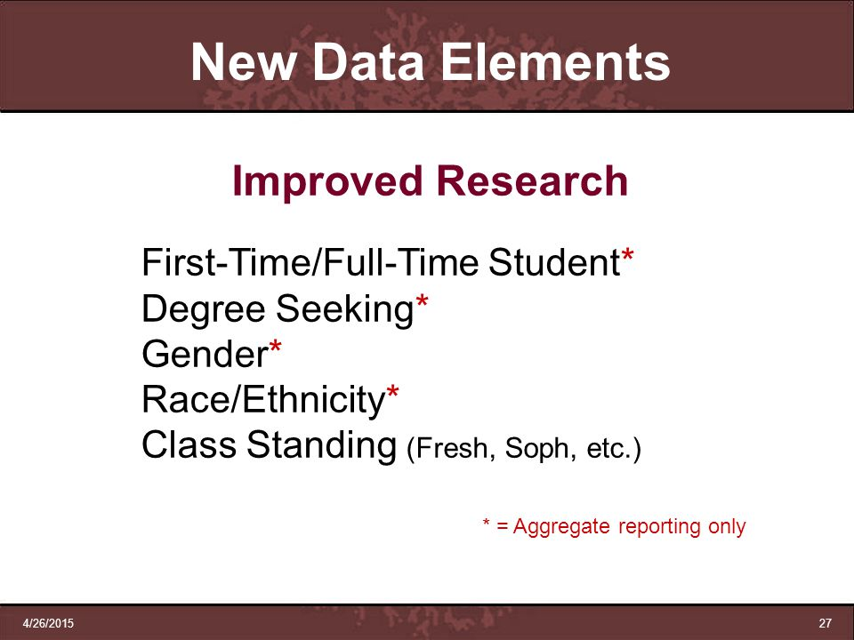 New Data Elements Improved Research Degree Seeking* Gender*