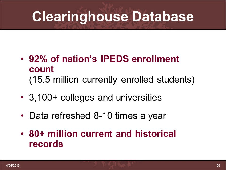 Clearinghouse Database