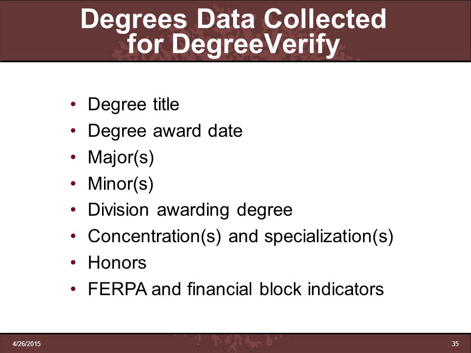 Degrees Data Collected for DegreeVerify
