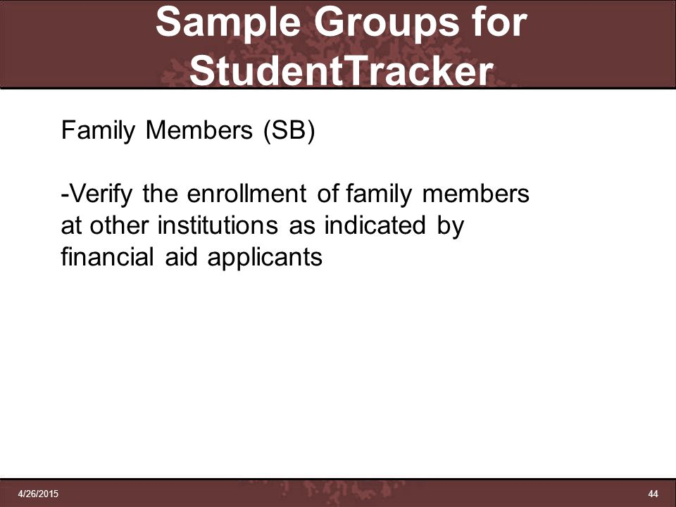 Sample Groups for StudentTracker