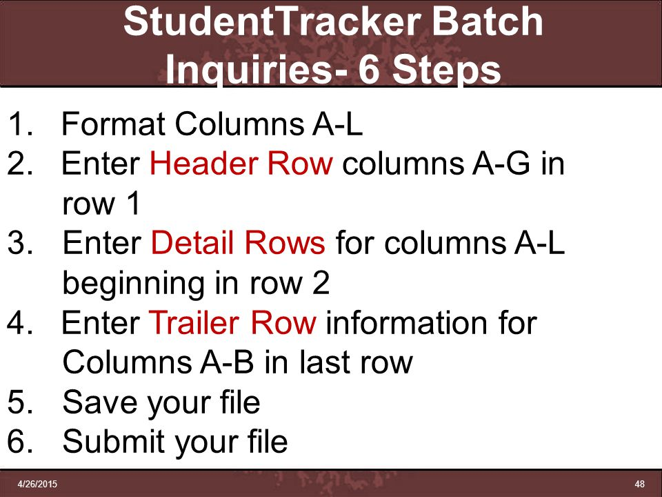 StudentTracker Batch Inquiries- 6 Steps