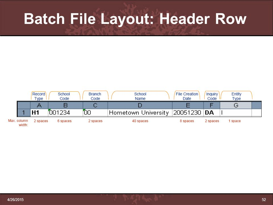 Batch File Layout: Header Row