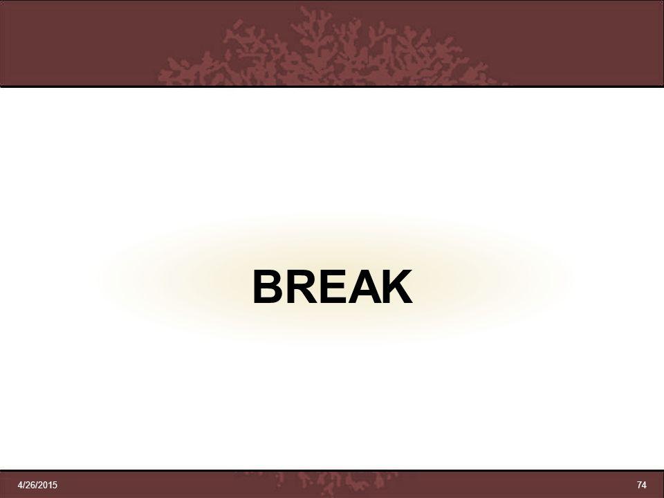 BREAK 4/12/2017 74 74