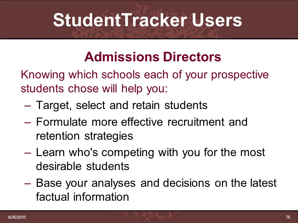 StudentTracker Users Admissions Directors