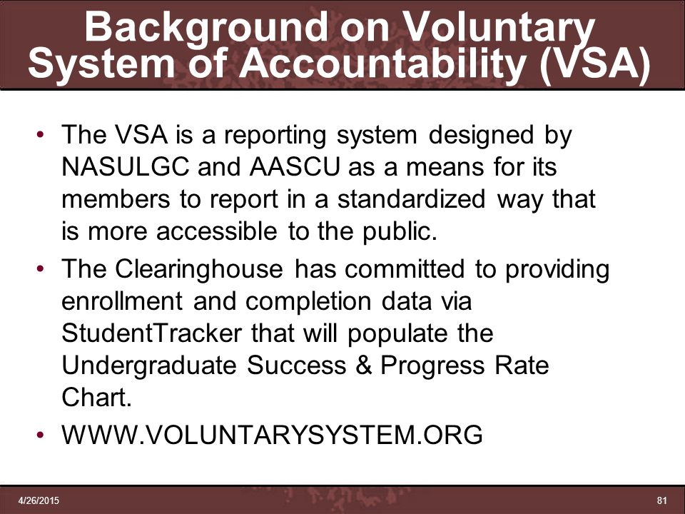 Background on Voluntary System of Accountability (VSA)