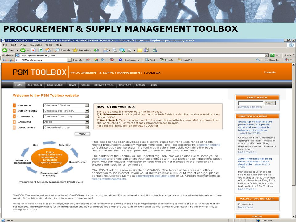 PROCUREMENT & SUPPLY MANAGEMENT TOOLBOX