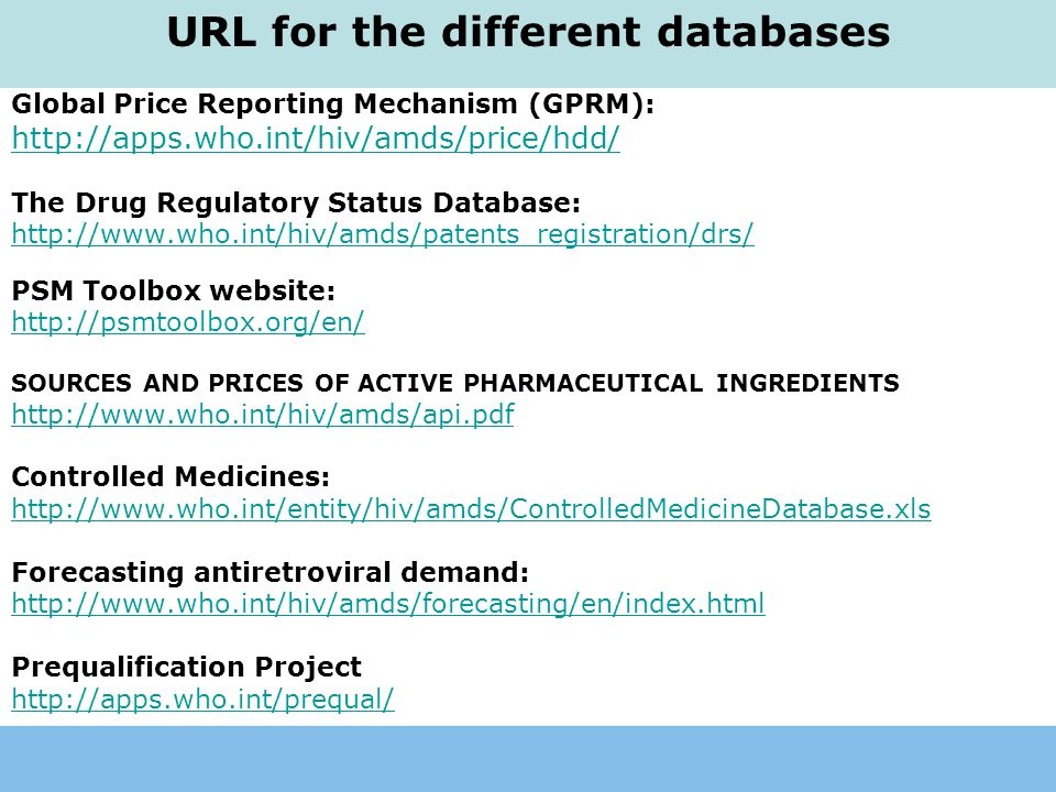 URL for the different databases
