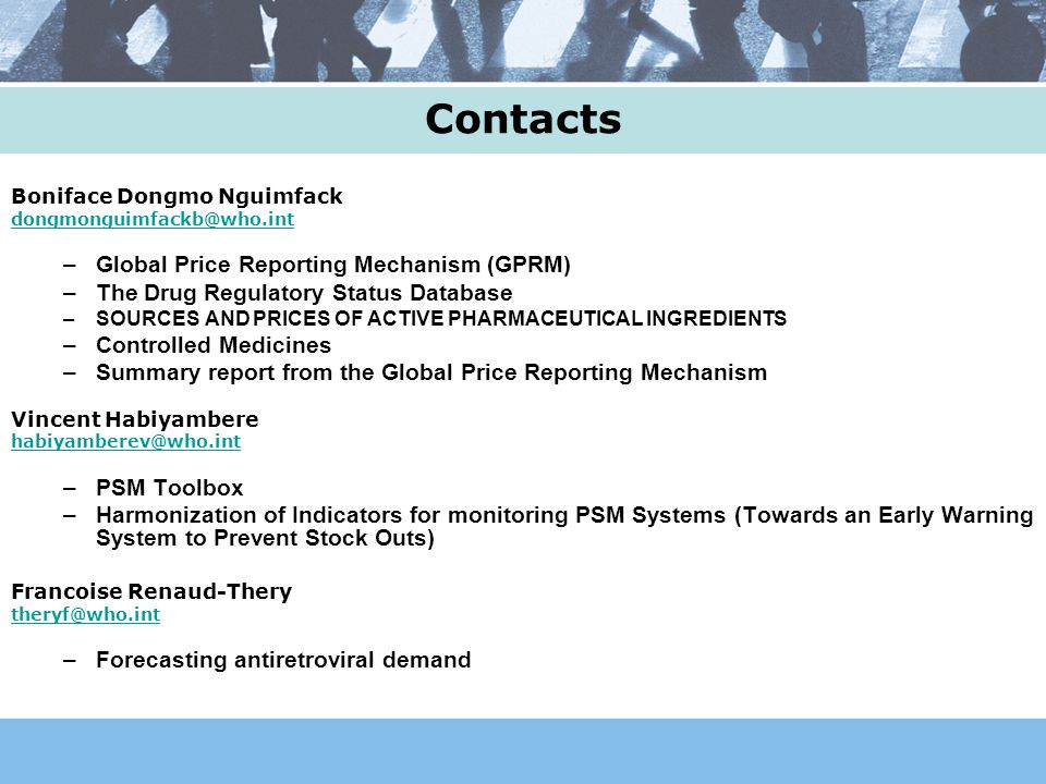 Contacts Global Price Reporting Mechanism (GPRM)