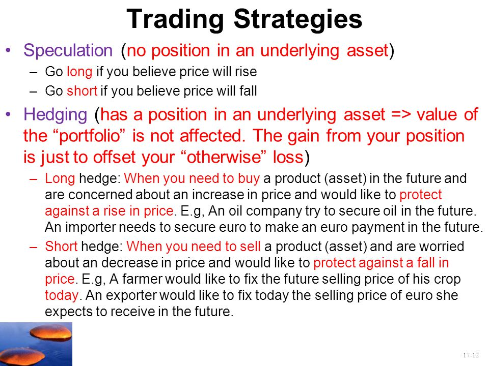 Trading Strategies Speculation (no position in an underlying asset)