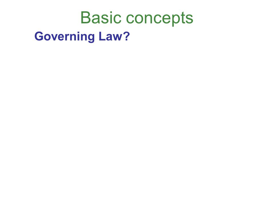 Basic concepts Governing Law