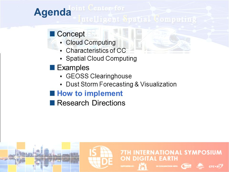 Agenda Concept Examples How to implement Research Directions