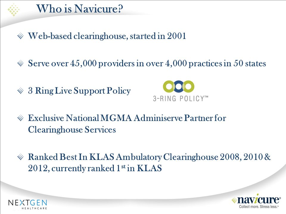 Who is Navicure Web-based clearinghouse, started in 2001