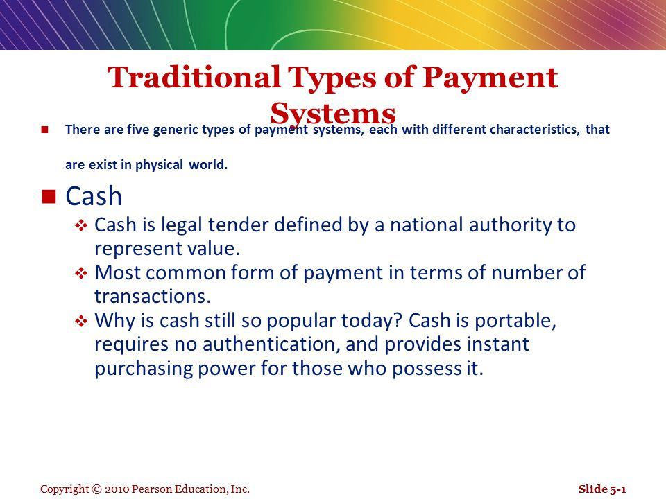 Traditional Types of Payment Systems