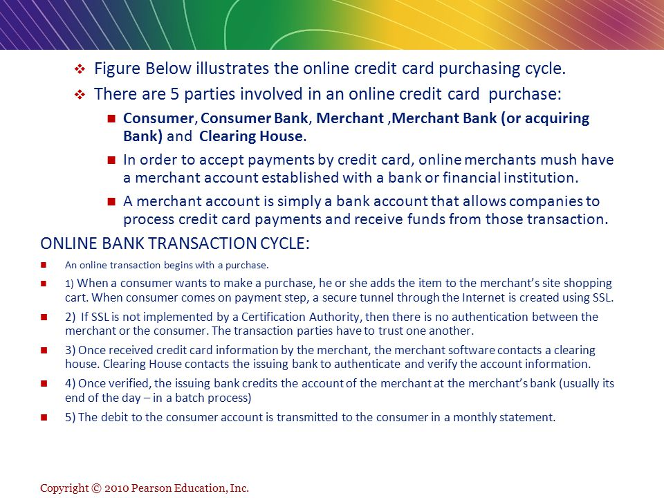 Figure Below illustrates the online credit card purchasing cycle.