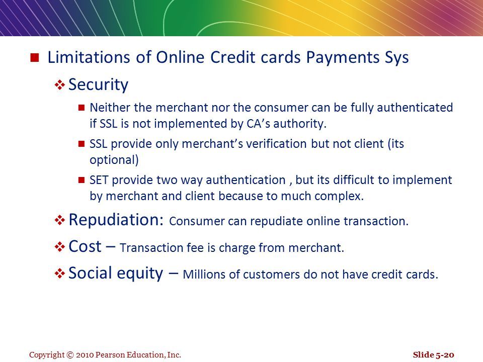 Limitations of Online Credit cards Payments Sys Security