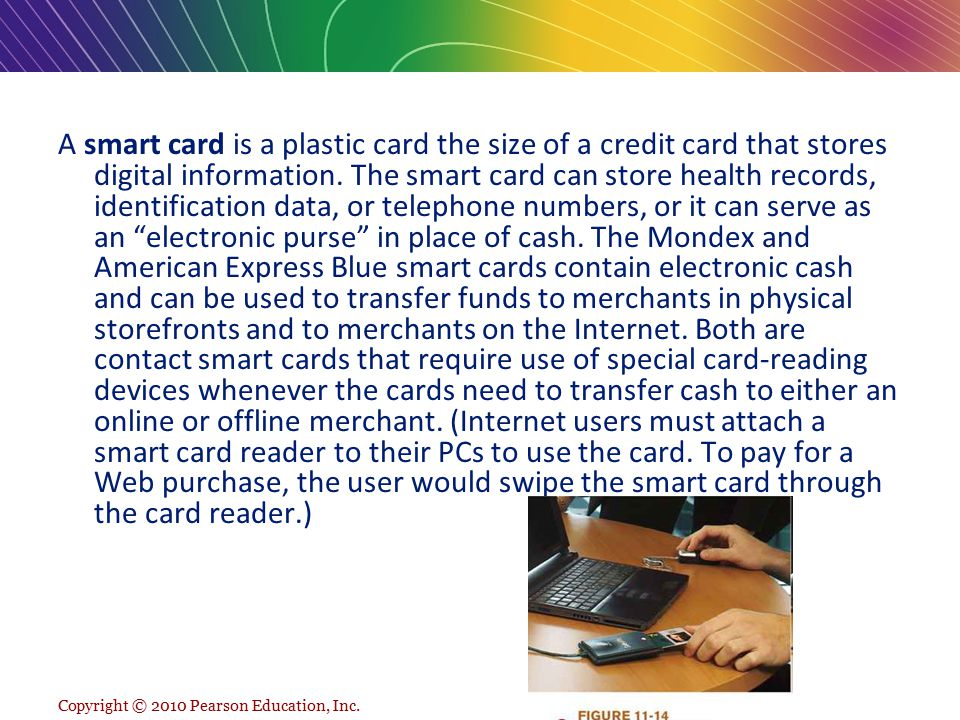 A smart card is a plastic card the size of a credit card that stores digital information. The smart card can store health records, identification data, or telephone numbers, or it can serve as an electronic purse in place of cash. The Mondex and American Express Blue smart cards contain electronic cash and can be used to transfer funds to merchants in physical storefronts and to merchants on the Internet. Both are contact smart cards that require use of special card-reading devices whenever the cards need to transfer cash to either an online or offline merchant. (Internet users must attach a smart card reader to their PCs to use the card. To pay for a Web purchase, the user would swipe the smart card through the card reader.)
