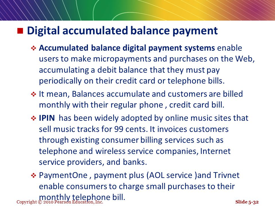 Digital accumulated balance payment