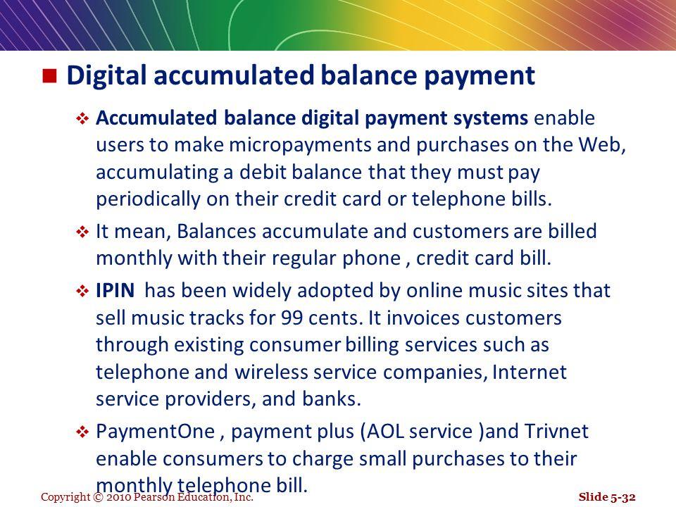 Digital accumulated balance payment