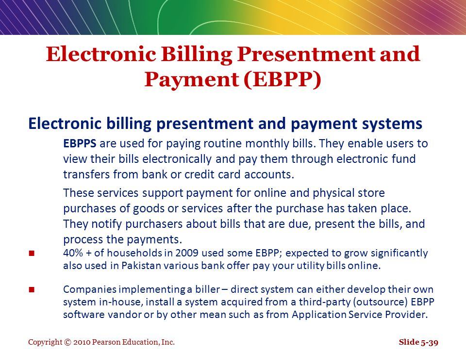 Electronic Billing Presentment and Payment (EBPP)