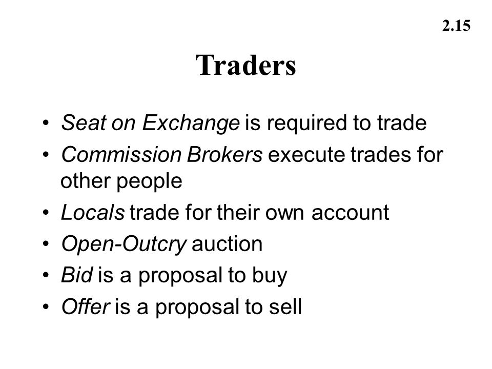 Traders Seat on Exchange is required to trade