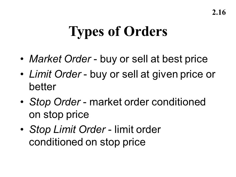 Types of Orders Market Order - buy or sell at best price