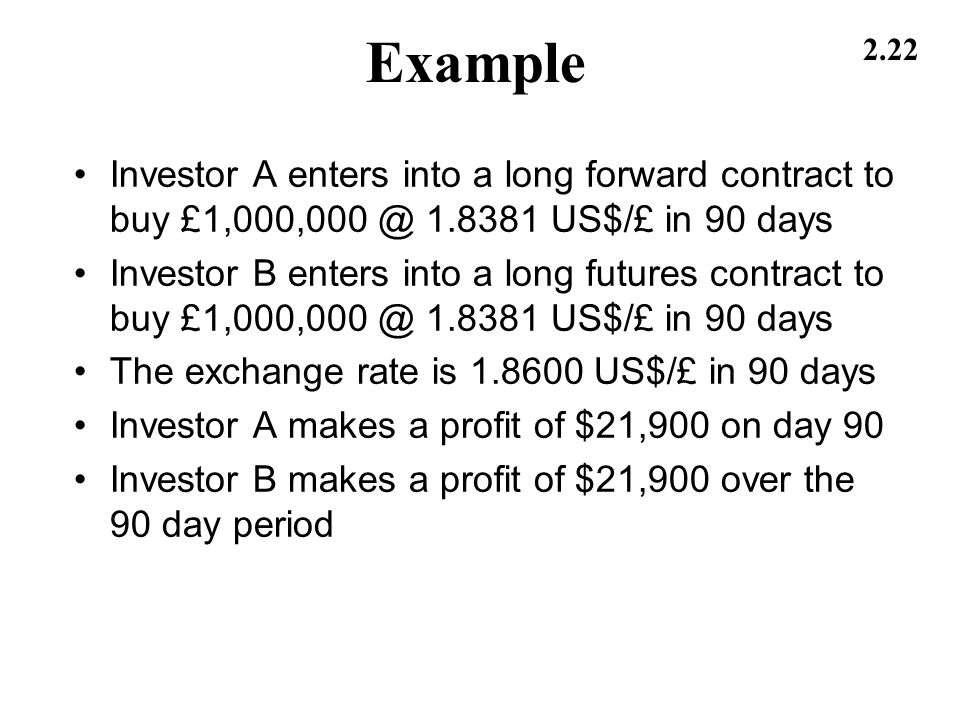 Example Investor A enters into a long forward contract to buy £1,000,000 @ 1.8381 US$/£ in 90 days.