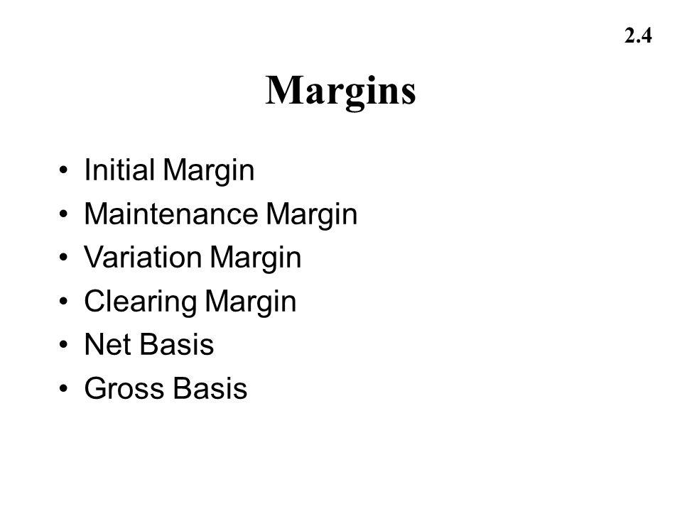 Margins Initial Margin Maintenance Margin Variation Margin
