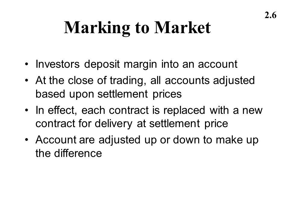 Marking to Market Investors deposit margin into an account