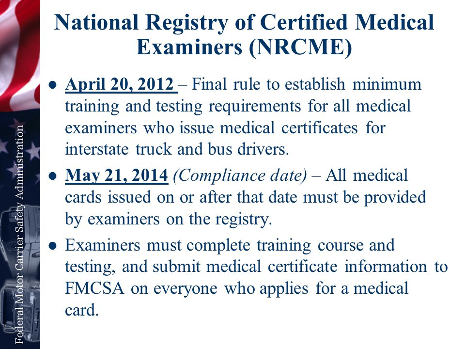 National Registry of Certified Medical Examiners (NRCME)