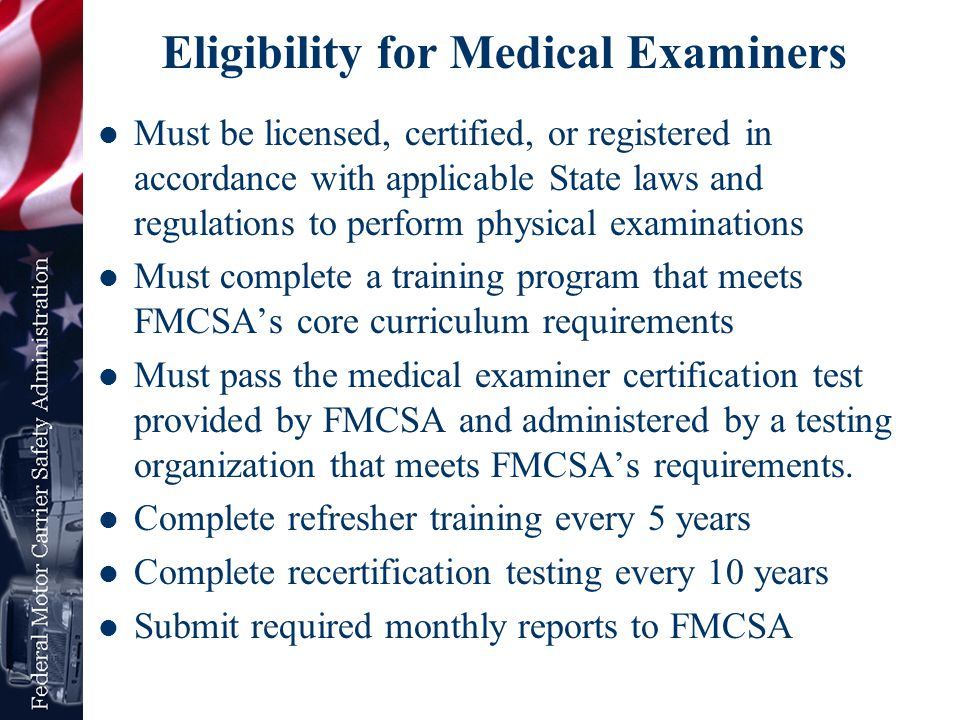 Eligibility for Medical Examiners