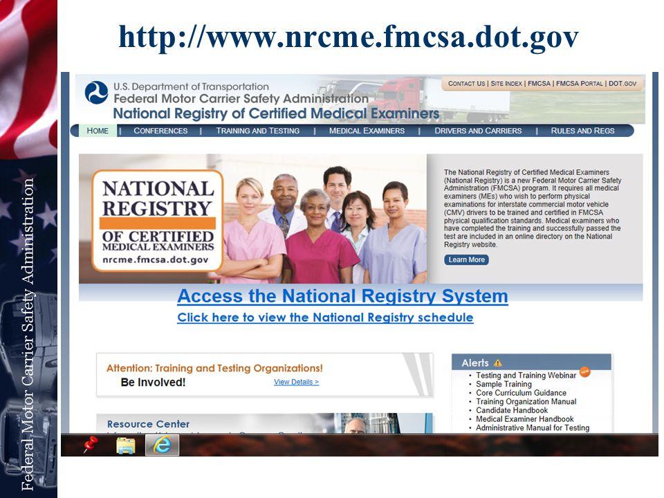 http://www.nrcme.fmcsa.dot.gov