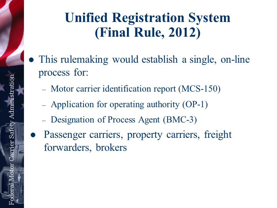 Unified Registration System (Final Rule, 2012)