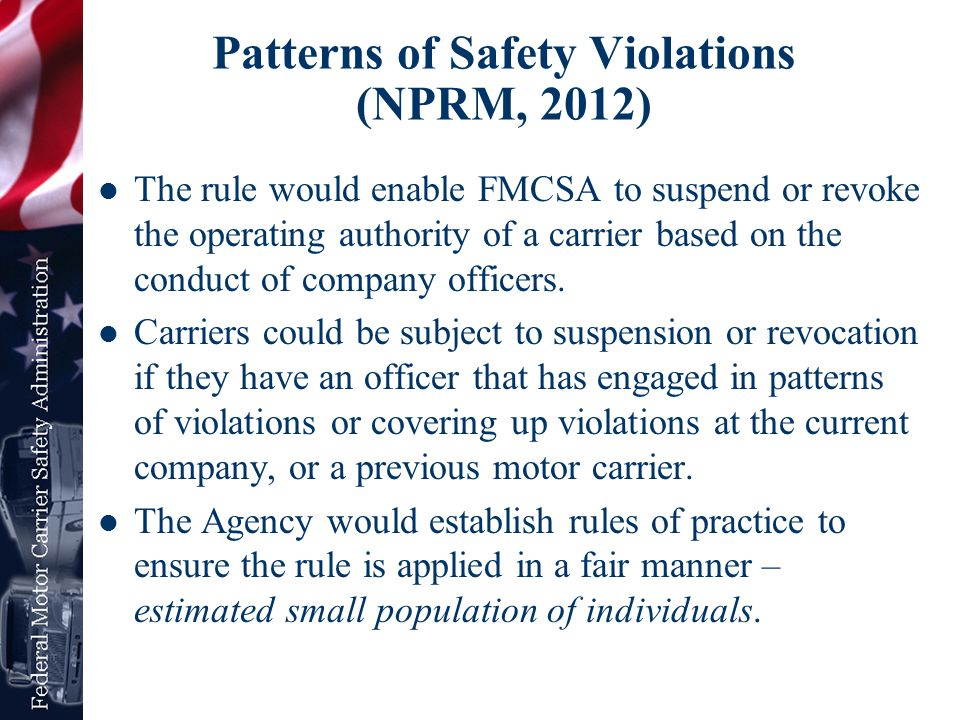 Patterns of Safety Violations (NPRM, 2012)