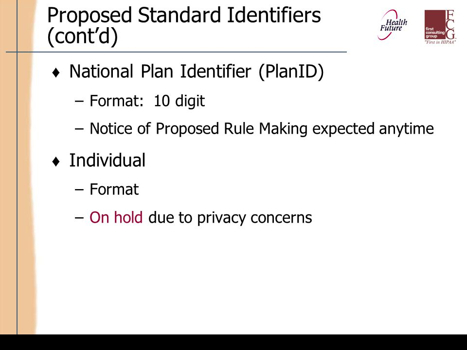 Potential Key Impacts: Standard Identifiers
