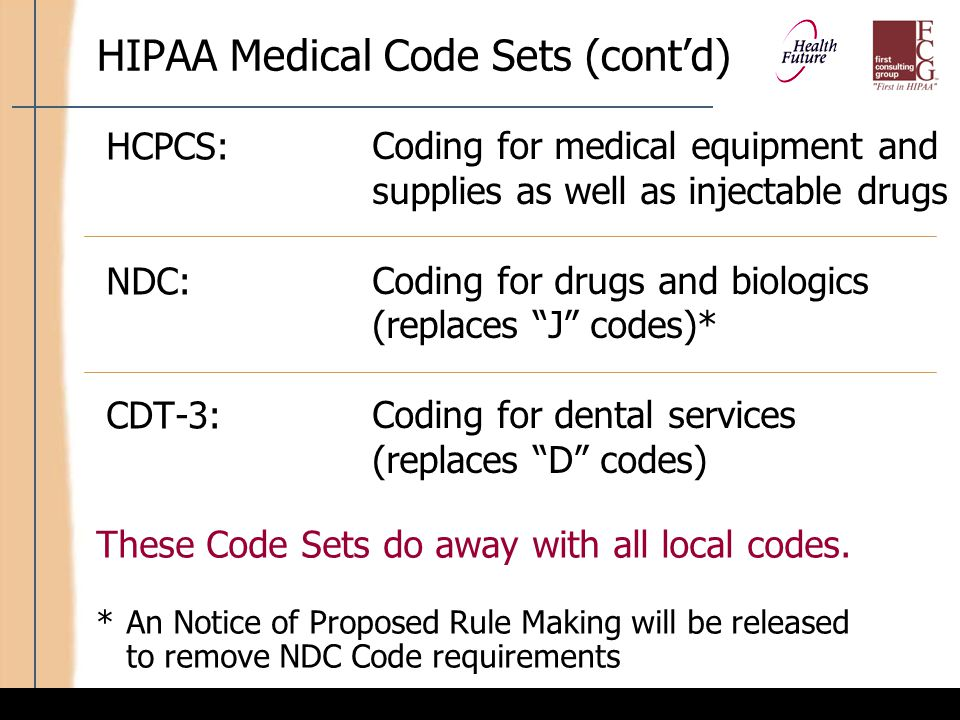 HIPAA Non-Medical Code Sets