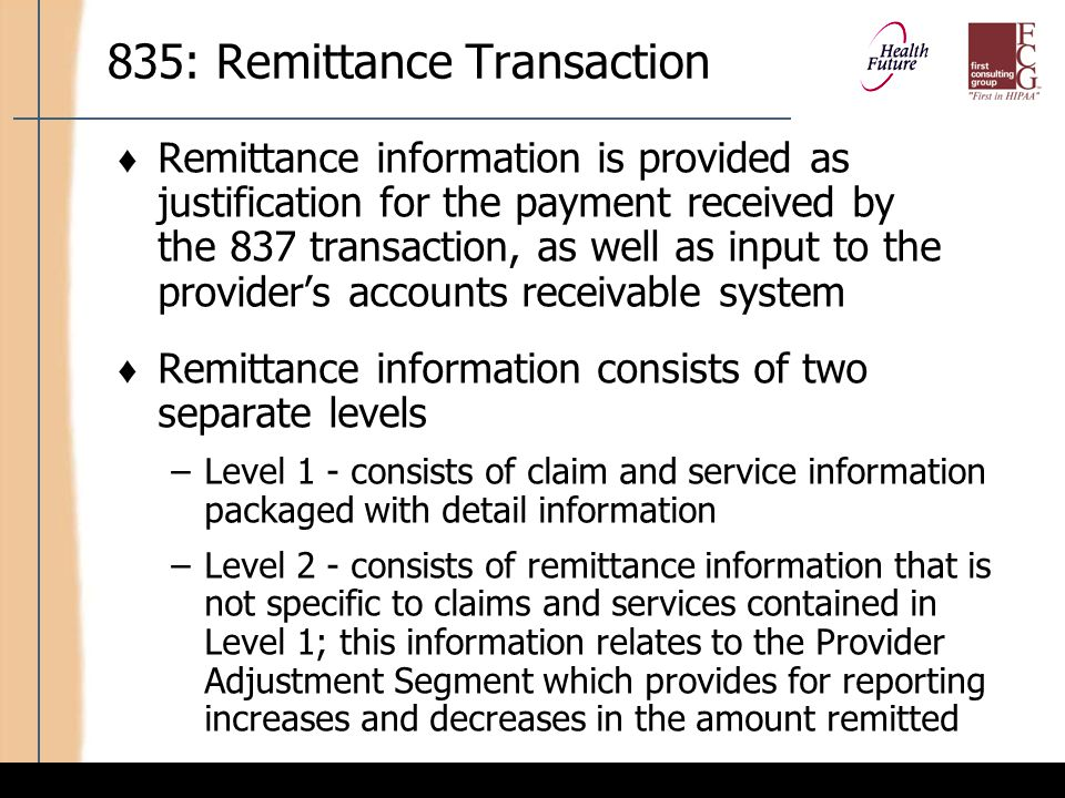 835: Remittance Transaction (cont'd)