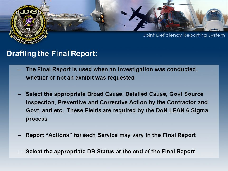 Drafting the Final Report:
