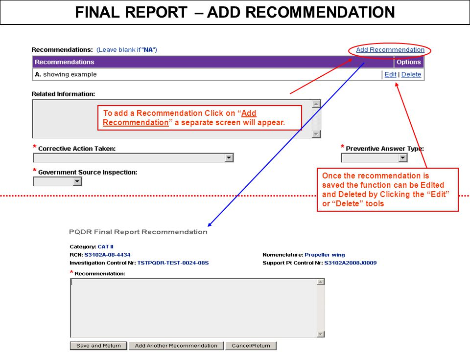 FINAL REPORT – ADD RECOMMENDATION