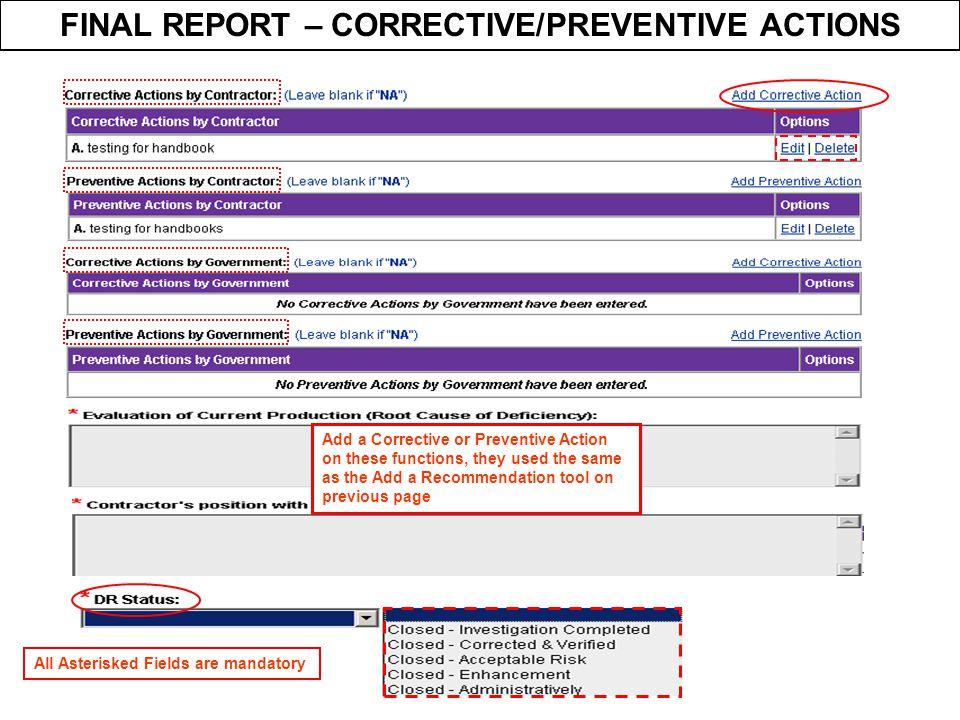FINAL REPORT – CORRECTIVE/PREVENTIVE ACTIONS