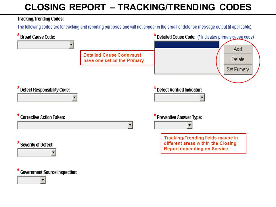 CLOSING REPORT – TRACKING/TRENDING CODES