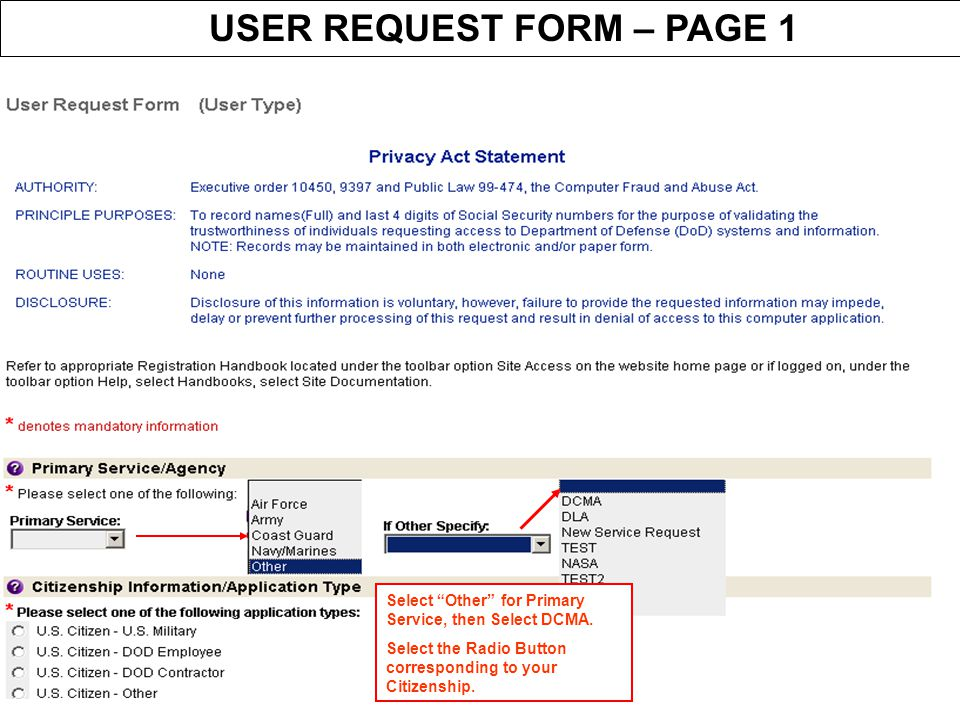 USER REQUEST FORM – PAGE 1
