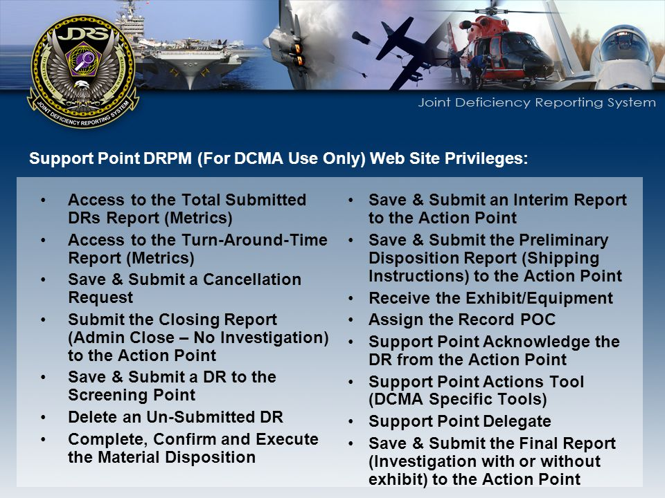 Support Point DRPM (For DCMA Use Only) Web Site Privileges: