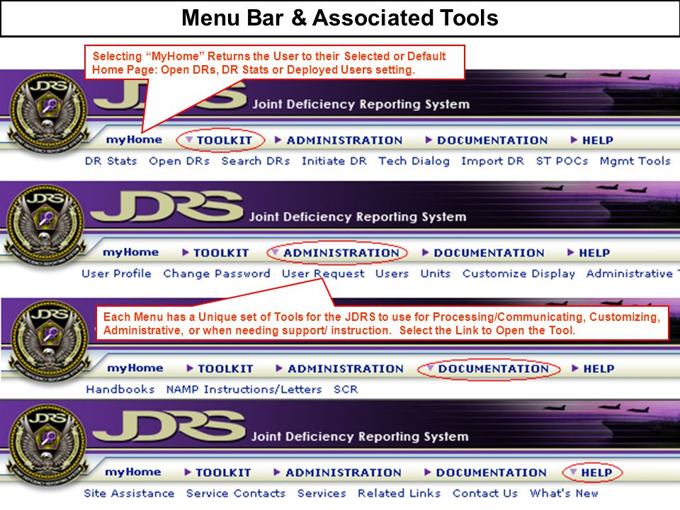 Menu Bar & Associated Tools