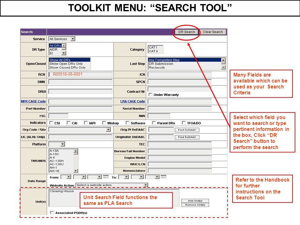 TOOLKIT MENU: SEARCH TOOL